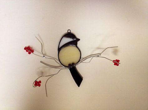 Chickadee stained glass suncatcher  frontal by seasonaltreasures