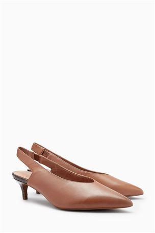 Buy Ochre Leather Kitten Heel Slingbacks From The Next Uk Online Shop Kitten Heel Slingbacks Slingback Shoes Heels