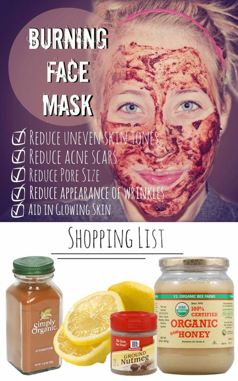 "Acne Treatment Overnight – Acne Treatment DIY Burning Face Mask: How to Reduce Acne Scars and Uneven Skin Tones ""By using ingredients found in your kitchen you can fight acne by drastically reducing uneven skin tone, reducing acne scars and reducing pore size."" Pinterest Comments (mixed):  ""This mask made with nutmeg, cinnamon, lemons, and honey …"