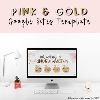 Google Sites Template Pink Gold By Fearless In Kindergarten Tpt Template Site Template Pink Google Sites Template