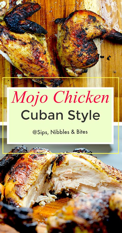 a quick and easy marinade, Cuban Mojo Chicken is tender and juicy, every bite having a complex flavor of herbs, citrus, and spices Comida Latina, Mojo Chicken, Cuban Chicken, Chicken On Bbq, El Pollo Loco Chicken Recipe, Brine For Chicken, Spatchcock Chicken Grilled, Mexican Chicken Marinade, Sofrito Chicken