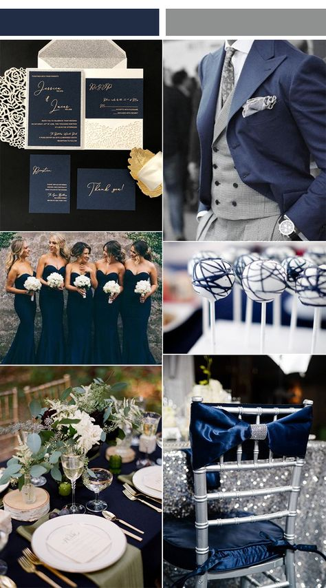elegant navy blue and gray silver wedding color ideas with matched wedding invitations wedding themes navy blue laser cut wedding invitations with gold foiled wordings-FREE RSVP Cards