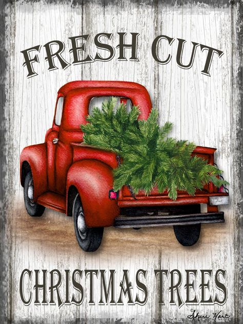 Christmas red truck - Sheri Hart