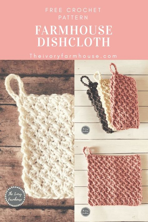 Learn how to crochet a dishcloth to suit your farmhouse style with this free cro. - Crochet and Knitting Patterns Learn how to crochet a dishcloth to suit your farmhouse style with this free cro. - Crochet and Knitting Patterns Crochet Diy, Crochet Afghans, Crochet Simple, Crochet Potholders, Crochet Home, Crochet Blanket Patterns, Love Crochet, Learn To Crochet, Knitting Patterns Free