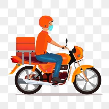 Delivery Boy With Mask Riding Bike Vector Byke Food Delivery