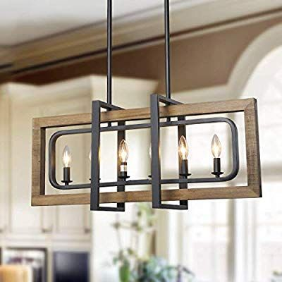 Amazon Com Log Barn 6 Lights Farmhouse Island Pendant Chandelier In Distressed Wood Rustic Pendant Lighting Wood And Metal Chandelier Kitchen Island Lighting