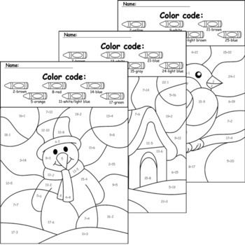 Winter Math Christmas Coloring Pages Color By Number No Prep Printables Winter Math Alphabet Coloring Pages Coloring Pages