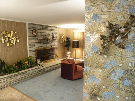 Roz House Family Room 3: Set of Roz's (played by Jennifer Lawrence) house.  The vintage ranch house had to be completely redone, except for the stone fireplace.  Every inch of the house was covered in vintage foil patterned wallpaper, carpeted, furnished and switched out with vintage appliances as seen in Columbia Pictures' AMERICAN HUSTLE.  Production Design by Judy Becker Photo by:  Alex Linde