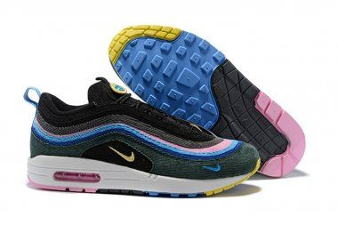 online store 8928d 9356f Sean Wotherspoons X Nike Air Max 97 1 Fuchsia Pink Green Suede Blue 2018  Summer Autumn Hot Sale