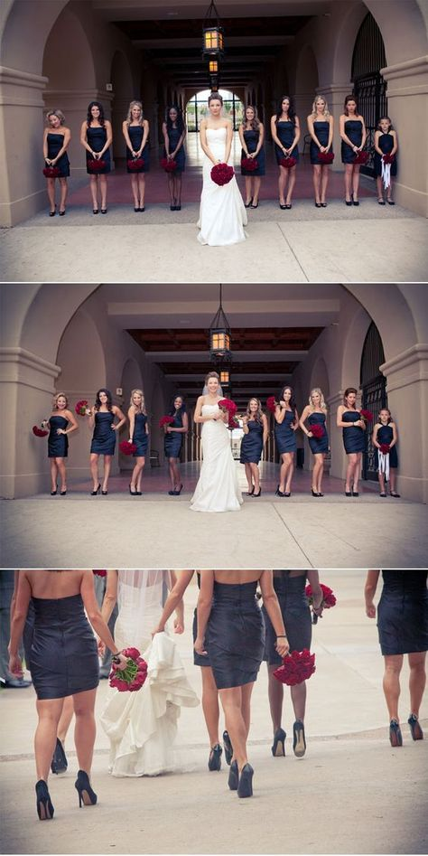 Romantic and Regal Winter Wedding, black bridesmaid dresses