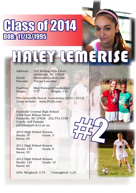 Emily Recruiting Flyer Resume Sports Resumes Recruiting Flyers - soccer resume for college