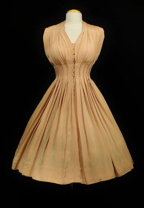Vintage 1950s CEIL CHAPMAN Full Skirt Draped Pleated Evening Cocktail Wedding…