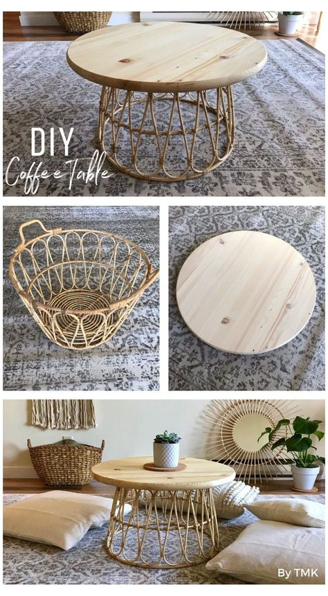 Round Coffee Table Diy, Round Wood Table, Wicker Coffee Table, Rattan Side Table, Rustic Coffee Tables, Round Side Table, Side Table Decor, Table Decorations, Diy Side Tables