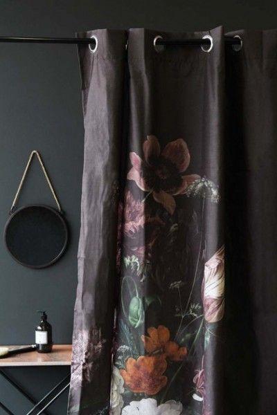 Black Floral Velvet Curtain Floral Shower Curtains Black Shower