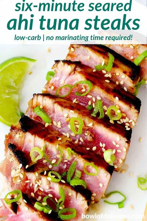 This seared ahi tuna steak recipe takes only 6 MINUTES to make start to finish! Its a perfect low-carb recipe made with a delicious honey-soy marinade, with no actual marinating time required. Healthy Steak Recipes, Tuna Steak Recipes, Sushi Recipes, Dinner Recipes, Tuna Steak Marinades, Ahi Tuna Recipe Healthy, Marinade For Tuna Steaks, Albacore Tuna Recipes, Tuna