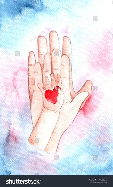 Watercolor hand drawn hand of dad,mom and baby holding a heart in their hands.Family illustration. Royalty free image illustration