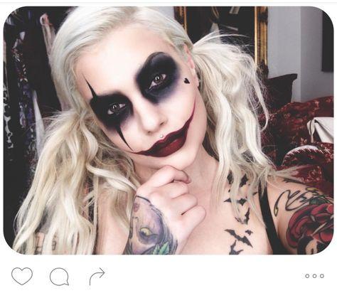 Harley Quinn with part Joker makeup.