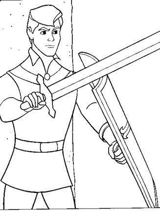 Sleeping Beauty Coloring Page Prince Phillip With Sword All