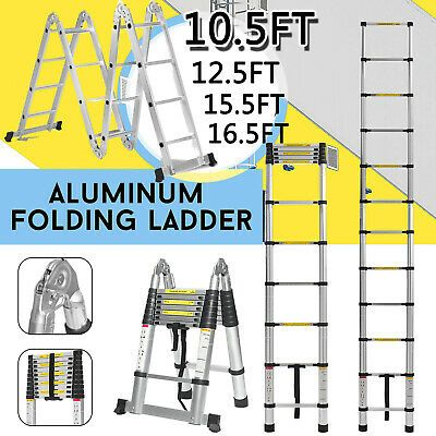 Ad Ebay Multi Purpose Step Aluminum Extension Extendable Ladder Telescopic 10 5ft 16 5ft Extendable Ladder Aluminum Extension Telescopic Ladder