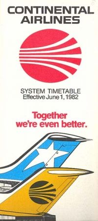 Continental Airlines - Texas International Airlines Merger Timetable - June 1, 1982