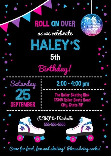 image about Free Printable Roller Skate Template referred to as Absolutely free Printable Roller Skating Invitation No cost Printable