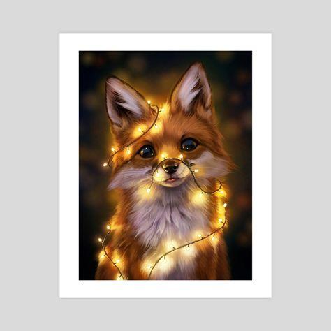 Fairy Lights An Art Print By Johanna Tarkela Cute Animal Drawings Animals Animals Beautiful