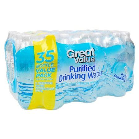 Great Value Purified Water 16 9 Fl Oz 35 Count Walmart Com In 2020 Water Purifier Grocery Supplies Purifier