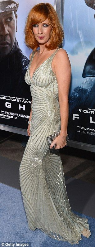 Like day and night! Angelic Kelly Reilly glitters in silver while Nadine Velazquez is bewitching in black at Flight premiere