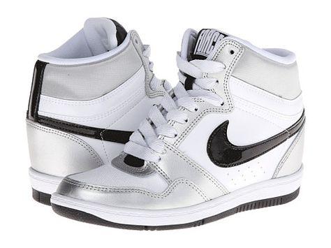 big sale 8e39c 34ae6 Nike Force Sky High Sneaker Wedge White Metallic Silver White Black - Zappos.com  Free Shipping BOTH Ways
