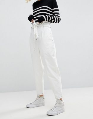 WHITE Paper Bag Jean in White   Weiße jeans, Outfits weiße