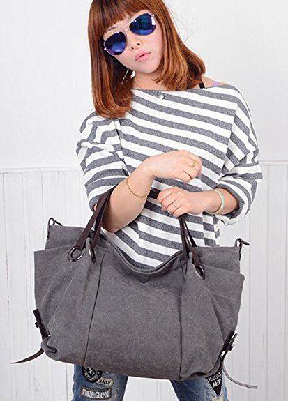 TM Women/'s Canvas Hobo Top-handle Bag Crossbody Shoulder Bag, KISS GOLD