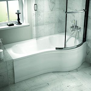 Wickes Misa P Shaped Right Hand Shower Bath 1700mm Wickes Co Uk Shower Bath Bath Front Panel P Shaped Bath