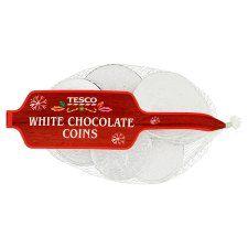 Tesco White Chocolate Coins 70g Christmas Chocolate