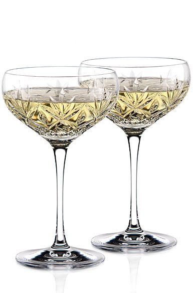 Waterford Huntley Champagne Cocktail Coupe Glass Pair Glass Coupe Glass Crystal Champagne Glasses