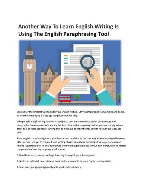 English paraphrasing tool - Article Rewriter Tool