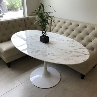 Lippa 60 Oval Artificial Marble Dining Table Contemporary