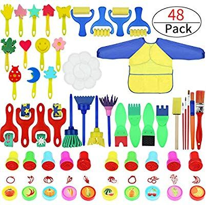 Painting Kits for Kids,Early Learning Kids Paint Set,Paint Sponges for Kids,77PCS Mini Flower Sponge Paint Brushes and Toys 48PCS Assorted Painting Drawing Tools in a Clear Durable Storage Pouch