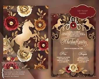 Red Charro Invitation Mexican Western Invitation. Red Roses | Etsy