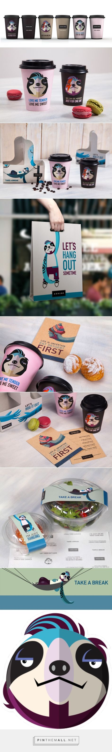 Packaging and branding for Break Coffee Shop by Plan b creative team curated by Packaging Diva PD. Easy is a common urban selfie sloth who performs as brand's main character peeping everywhere on take out boxes, posters, walls, windows, coffee cups and even under tables : )
