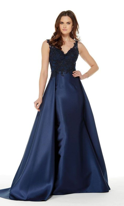 Photo of Alyce Paris – 5042 Beaded Applique Sleek Overskirt Long Gown