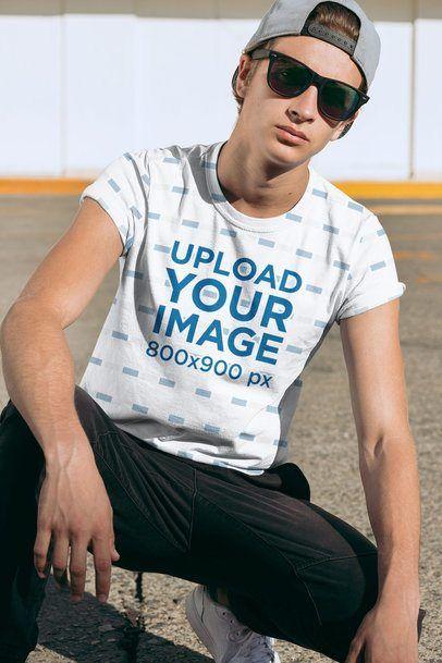 Download Placeit Sublimated T Shirt Mockup Featuring A Young Man With Sunglasses Shirt Mockup Clothing Mockup Tshirt Mockup