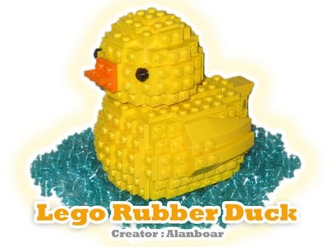 Rubber Ducky Duck Blue Custom Lego INSTRUCTIONS ONLY