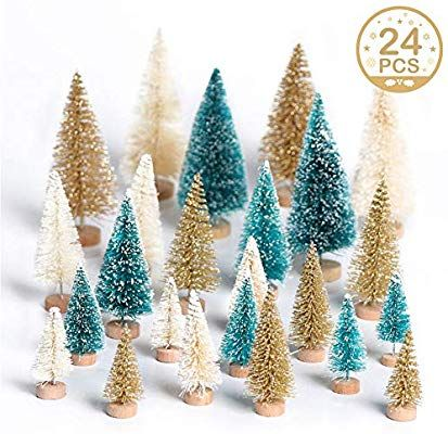 Amazon Com Ourwarm 24pcs Artificial Sisal Christmas Tree Mini Pine Tree With Wood Base Diy Crafts Winter Ornaments Mini Christmas Tree Tabletop Christmas Tree