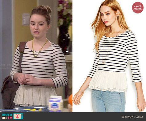 Eve's striped top with ruffled hem on Last Man Standing. Outfit Details: http://wornontv.net/47594/ #LastManStanding