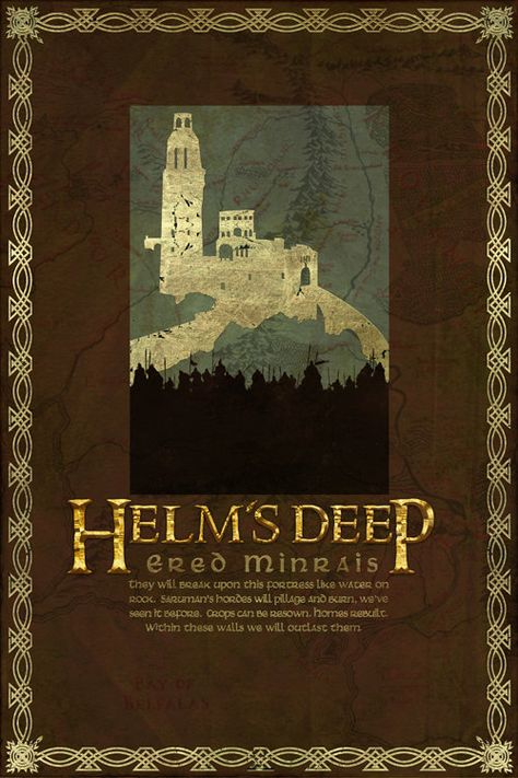 SHIT'S GOIN' DOWN!!!!!!                          Helm's Deep Travel Poster from The Lord Of the Rings and the Hobbit - Tolkien