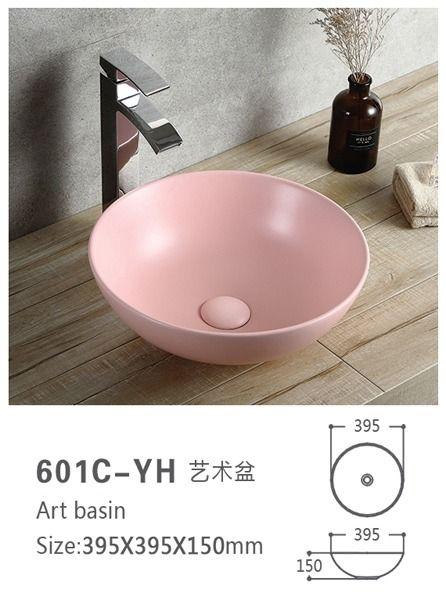 pink porcelain bathroom vessel sink