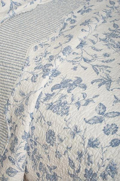 Brighton Blue Toile French Country Quilt Detail Brighton Blue Toile Frenchcountryst French Country Quilt French Country Decorating French Country Bedrooms