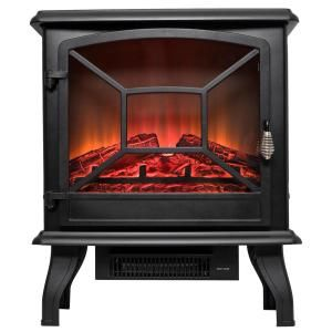 Akdy 20 In Freestanding Electric Fireplace Mantel Heater In Black With Tempered Glass And Logs Fp0081 The Home Depot Electric Fireplace Black Electric Fireplace Portable Electric Fireplace