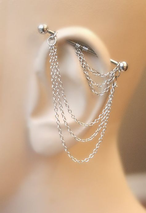 Industrial Barbell Industrial piercing Jewelry Industrial bar earring Industrial piercing chain Dangle Chains by triballook on Etsy www. Industrial Bar Earring, Industrial Piercing Jewelry, Industrial Barbell, Industrial Chair, Industrial Shelving, Modern Industrial, Industrial Bars, Industrial Office, Diy Shelving