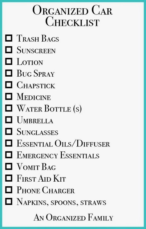 An Organized Family - Organizing Road Trips with Kids! Comes with - sample travel checklist